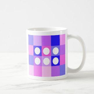 Dotty squares and circles - English tea mug