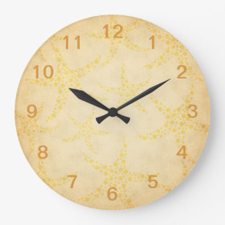 Dotty Starfish on Vintage Style Pattern Large Clock