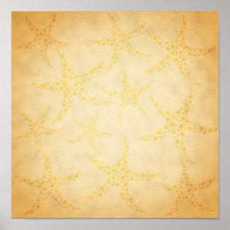 Dotty Starfish on Vintage Style Pattern Poster