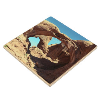 Double Arch Wood Coaster