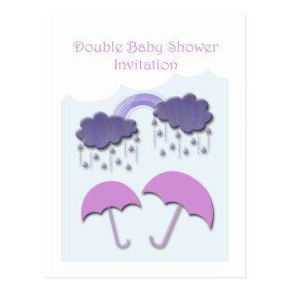 Double Baby Shower Invitation Cards Postcard