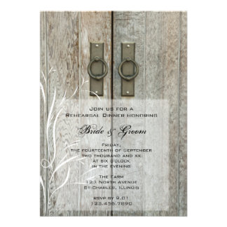 Double Barn Door Country Wedding Rehearsal Dinner Personalized Invites