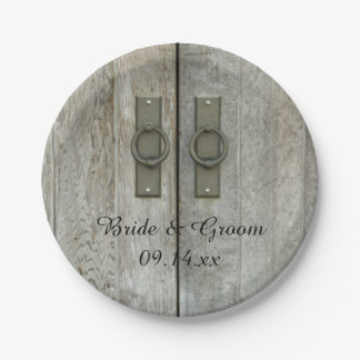 Double Barn Doors Country Wedding 7 Inch Paper Plate