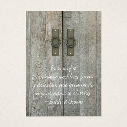 Double Barn Doors Country Wedding Charity Favour Business Card