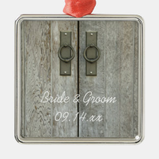 Double Barn Doors Country Wedding Silver-Colored Square Decoration