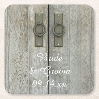 Double Barn Doors Country Wedding Square Paper Coaster