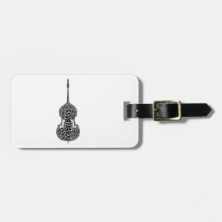 Double Bass Shaped Word Art Black Text Luggage Tag
