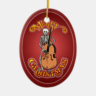 Double Bass Skeleton Personalized Xmas Ornament