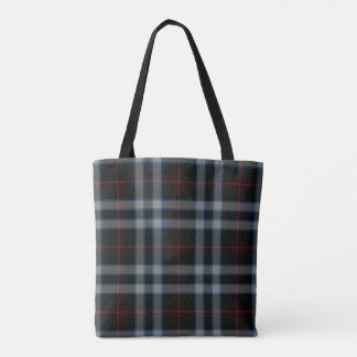 Double Black Blue Grey Red Tartan Plaid Tote Bag