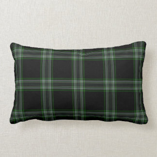 Double Black Green Tartan Plaid Lumbar Cushion
