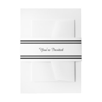 Double Black Trim - Belly Band Invitation Belly Band