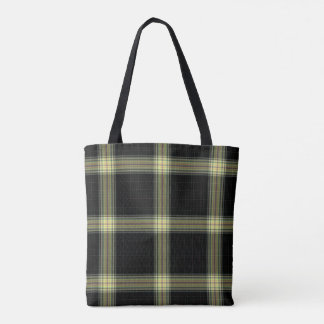 Double Black Yellow Red Tartan Plaid Tote Bag