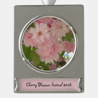 Double Blossoming Cherry Tree II Pink Spring Silver Plated Banner Ornament