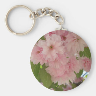 Double Blossoming Cherry Tree II Spring Floral Basic Round Button Keychain