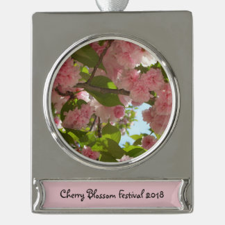 Double Blossoming Cherry Tree III Spring Floral Silver Plated Banner Ornament
