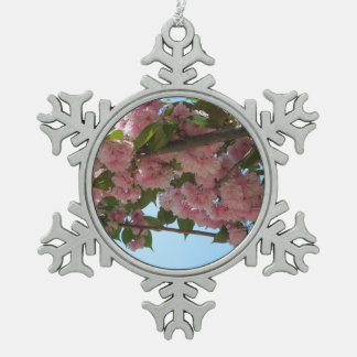 Double Blossoming Cherry Trees IV Pink Spring Pewter Snowflake Decoration