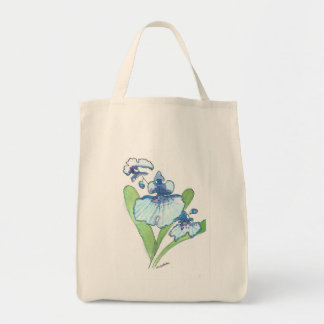 Double Blue Orchid Watercolor Grocery Tote