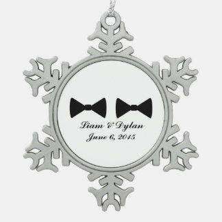 """Double Bow Ties"" Pewter Ornament"
