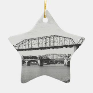 Double Bridge Black and White Photography Ceramic Star Decoration