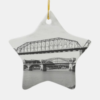 Double Bridge Black and White Photography Christmas Ornament