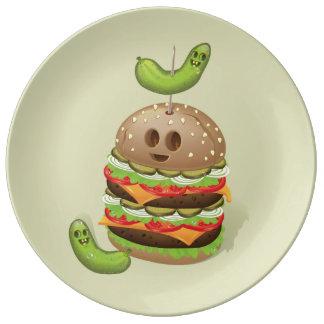 Double Burger Evil Face Porcelain Plate