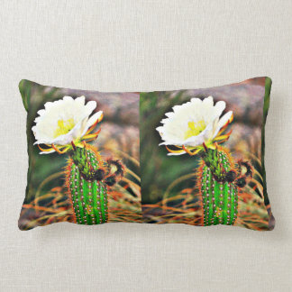 Double Cactus Flower Lumbar Throw Pillow
