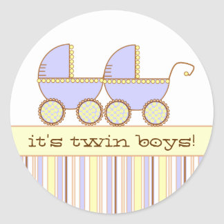 Double Carriage Twin Boys Round Sticker
