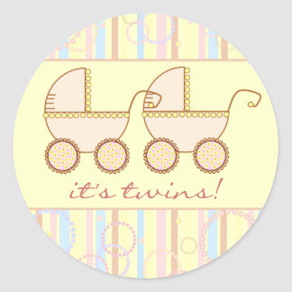 Double Carriage Twin Girls Round Sticker
