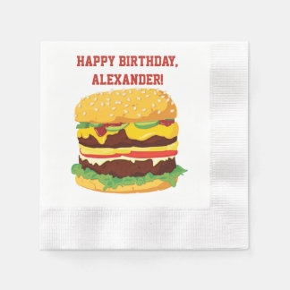 Double Cheeseburger Custom Party Paper Napkins