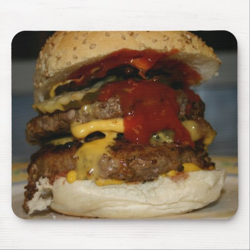 Double Cheeseburger Please Mouse Pads