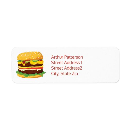 Double Cheeseburger Return Address Label White