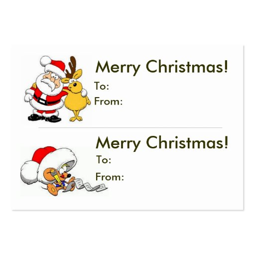 Double Christmas Gift Tag Business Cards