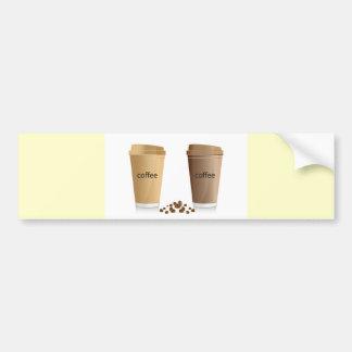 DOUBLE COFFEES CREAM SUGAR HONEY  BEVERAGES HOT WA BUMPER STICKER