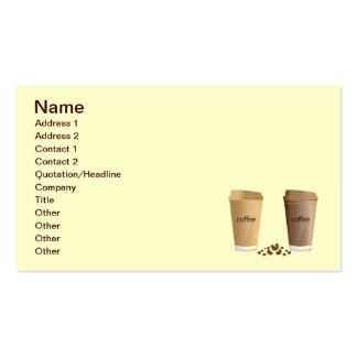 DOUBLE COFFEES CREAM SUGAR HONEY BEVERAGES HOT WA BUSINESS CARD