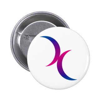 Double Crescent Moon Bisexual Pride Symbol 6 Cm Round Badge