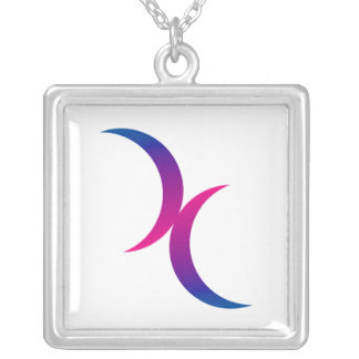 Double Crescent Moon Bisexual Pride Symbol Silver Plated Necklace