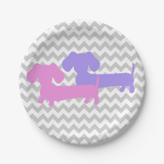 Double Dachshund Wiener Dog Party Paper Plate