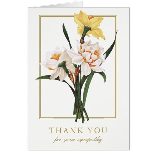 Double Daffodils Sympathy Funeral Thank You Cards