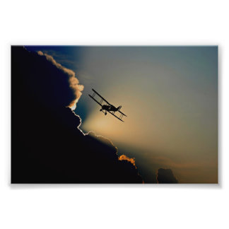 Double decker propeller plane silhouette photo