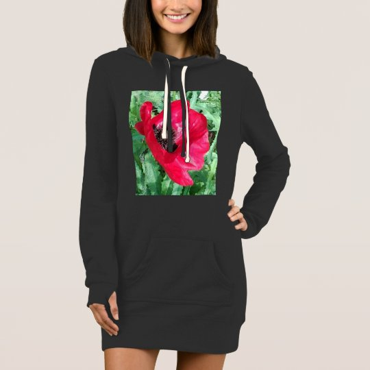 Double Design Red Hoodie Dress/Shirt Poppy/Organic