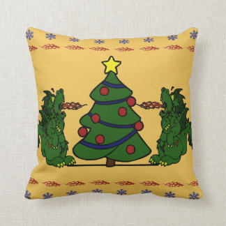 Double Dragon Christmas Tree Ugly Sweater Design Throw Pillow