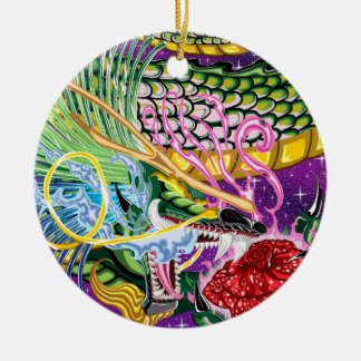 Double Dragon Pendant / Double-Sided Ceramic Round Christmas Ornament