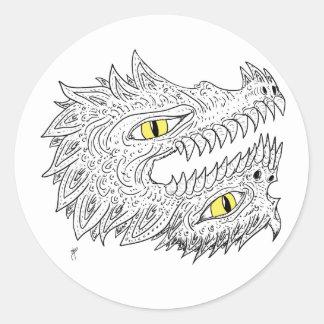 Double Dragon Round Sticker
