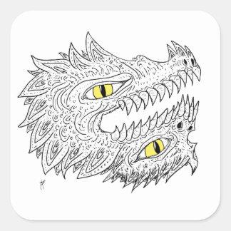 Double Dragon Square Sticker