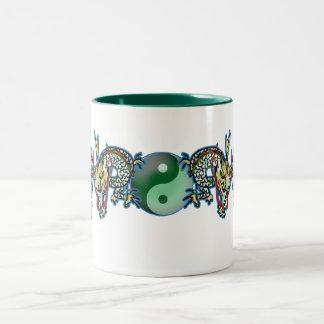 Double Dragons with YinYang Ball Two-Tone Mug