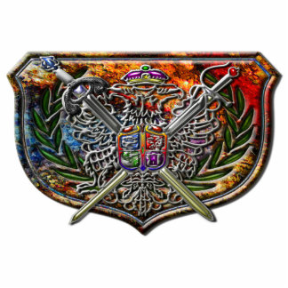 Double Eagle & Crossed Swords Coat of Arms Standing Photo Sculpture