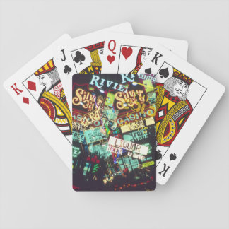 Double exposure, casino signs, Las Vegas, Poker Deck