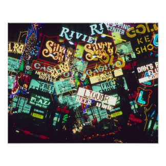 Double exposure, casino signs, Las Vegas, Poster