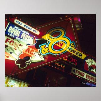 Double exposure, interior Casino, Las Vegas, Poster