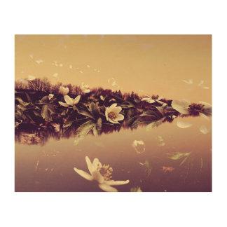 Double Exposure Landscape Flowers Wood Wall Art